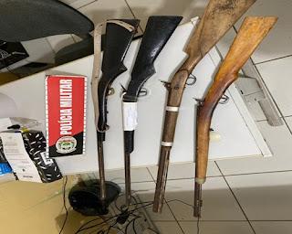 Em Sossego, após ameaça Polícia apreende 04 espingardas