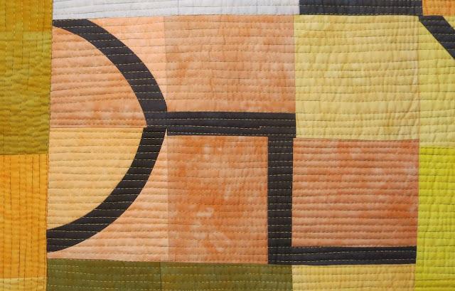 European Quilt Triennial - Zeichen in gelb by Ramona Conconi - Detail