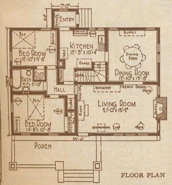 catalog image of Sears Kilbourne first floor layout 1925 sears modern homes catalog