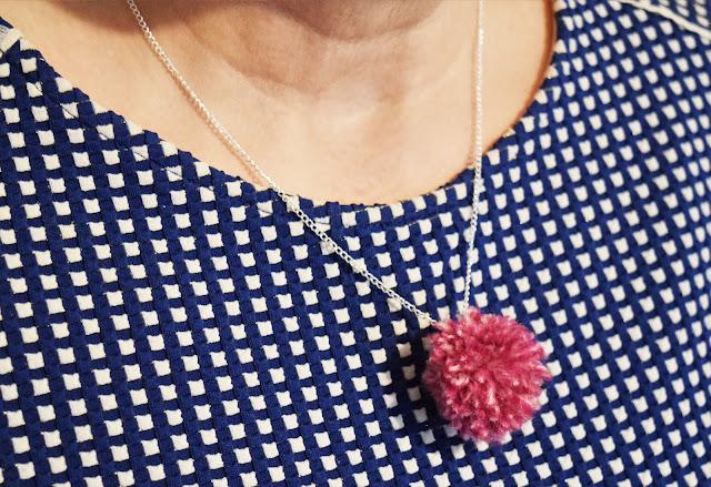 Silver pompom necklace