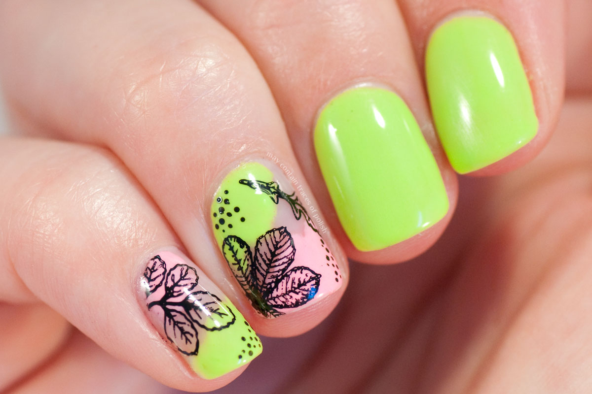 Neon Summer Nail Art Design with Maniology Botanical stamping plate BM-S321
