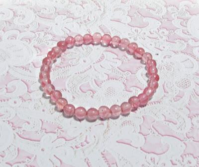 Kwarc różowy bransoletka   na  gumce