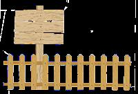 Cerca de madeira com placa em png