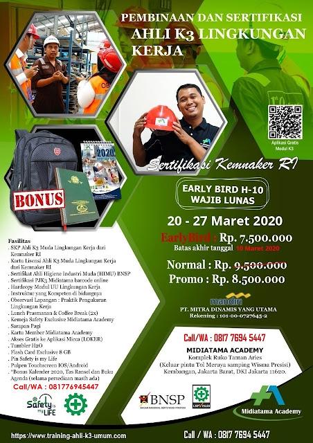 Ahli K3 Muda Lingkungan Kerja tgl. 20-27 Maret 2020 di Jakarta