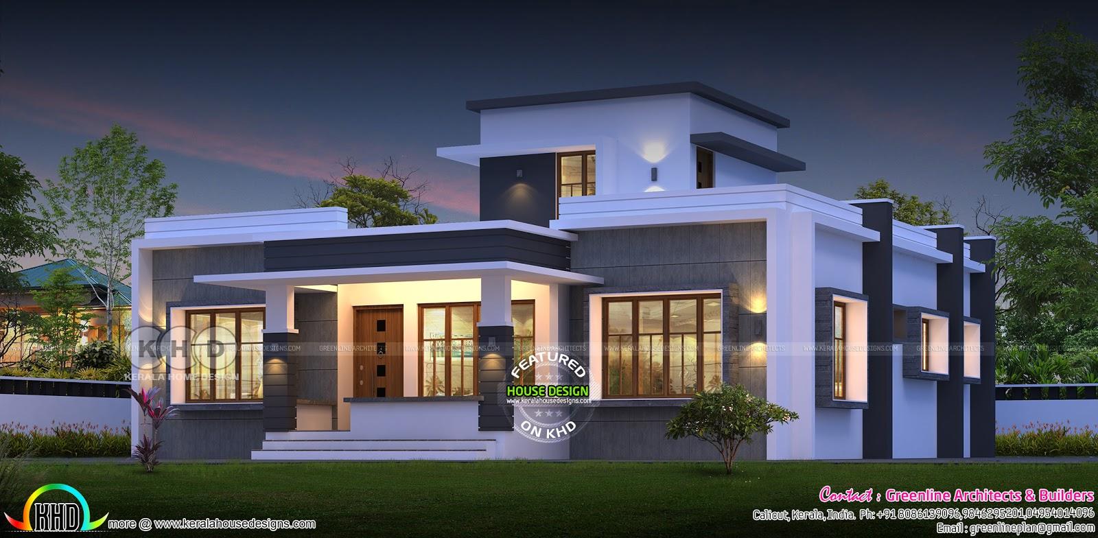 1737 Square Feet 3 Bedroom Flat Roof Modern Single Storied House Kerala Home Design Bloglovin