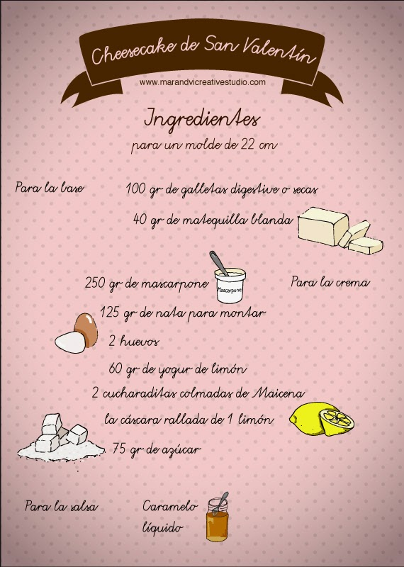 cheesecake de San Valentín: ingredientes