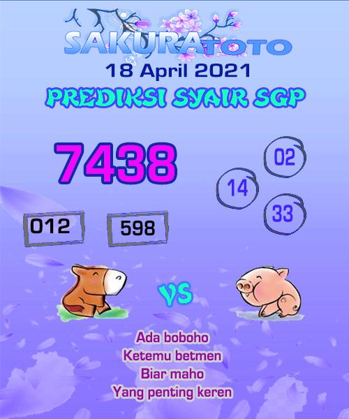 Syair SGP Minggu 18 April 2021 -