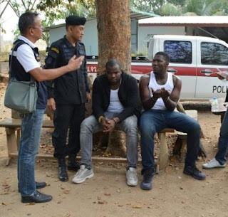 Photos: Two Nigerian men arrested in the border town of Eastern Thailand after a dramatic car chase
