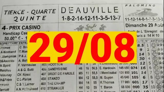 programme quinté+ Pronostic quinté dimanche 29/08/2021
