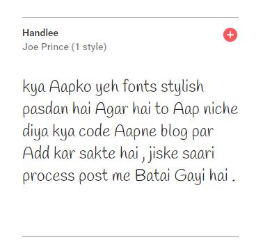 stylish Handlee web fonts