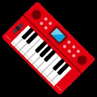 キーボード・シンセサイザーのイラスト(赤)