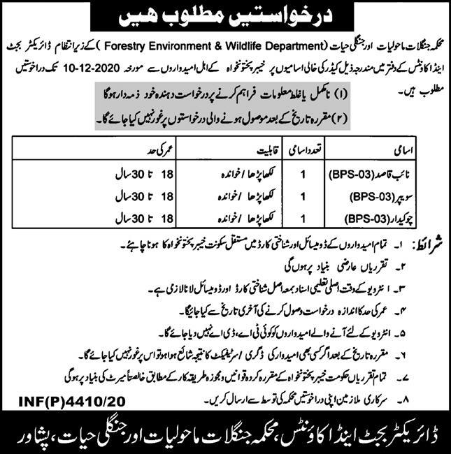Forestry Environment & Wildlife Department Nov 2020 Latest Jobs Advertisement in Pakistan 2020