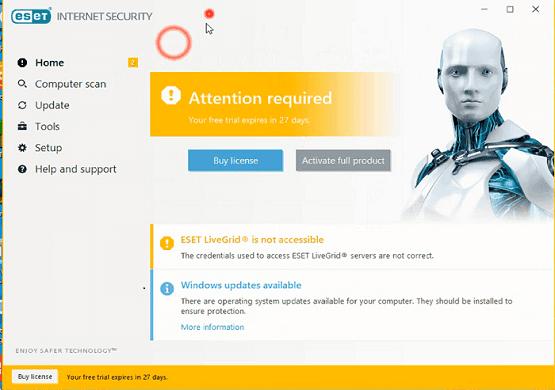 حل مشكلة eset live grid is not accessible مشكلة يتطلب إنتباهك يتعذر الوصول لخوادم