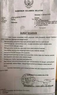 Surat Edaran Penting Dari Gubernur Sulsel Himbauan No 557.2/6120/DIKNAS
