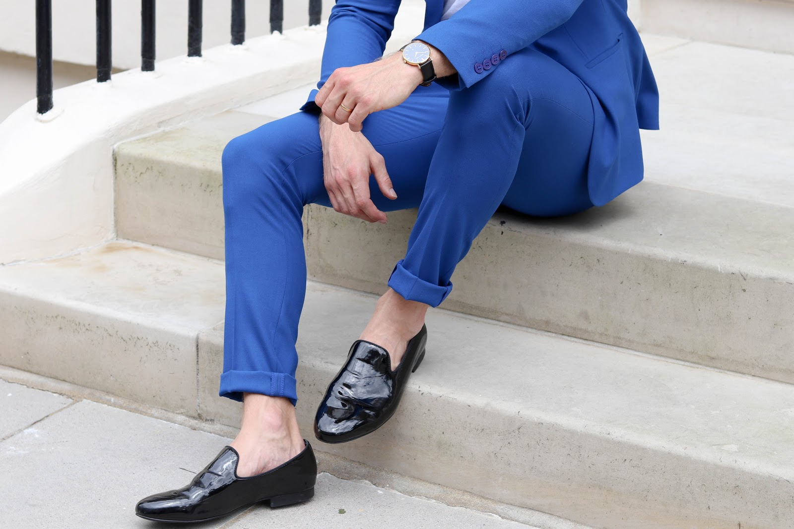 ASOS Blue Suit Zara Loafers Knightsbridge