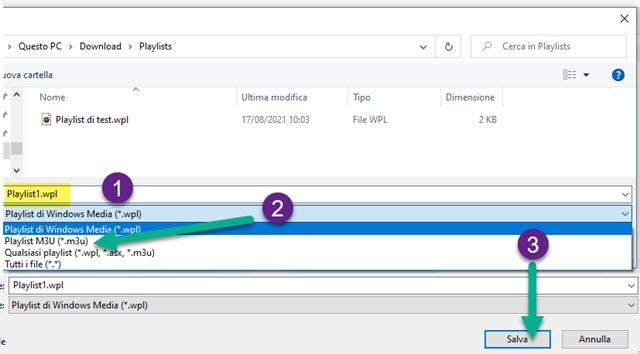salvataggio playlist di Windows Media Player