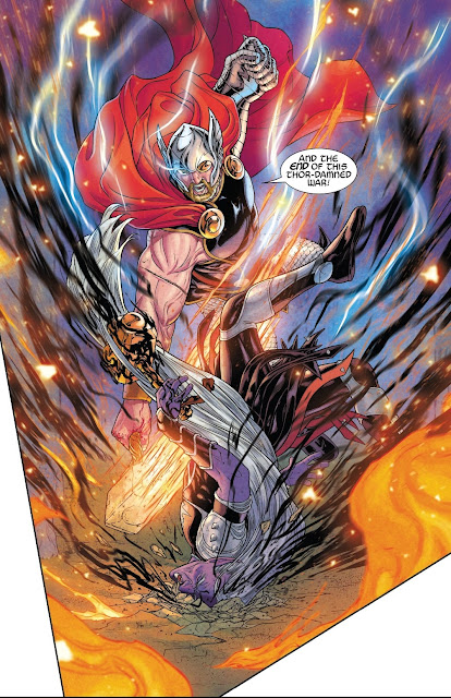Thor uses Mjolnir to knock down Malekith in War of the Realms Issue #6.