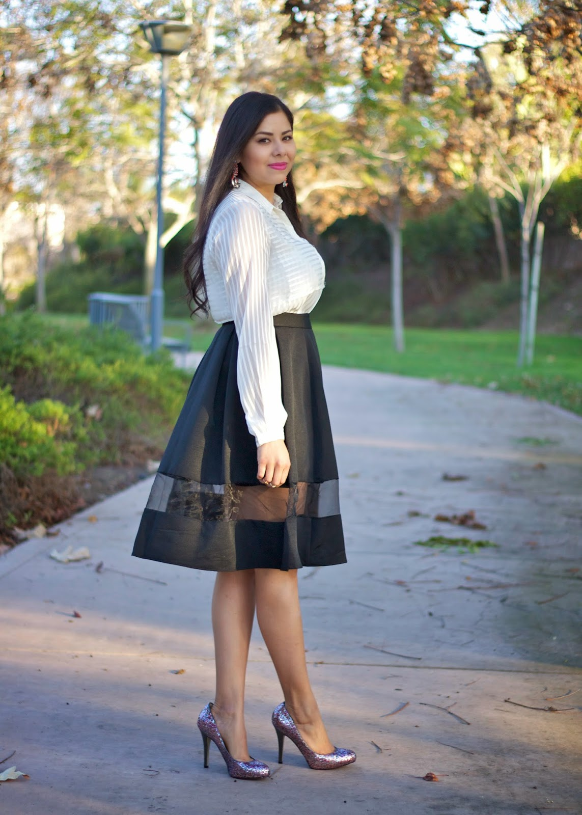 Express high waist full skirt with sheer panel