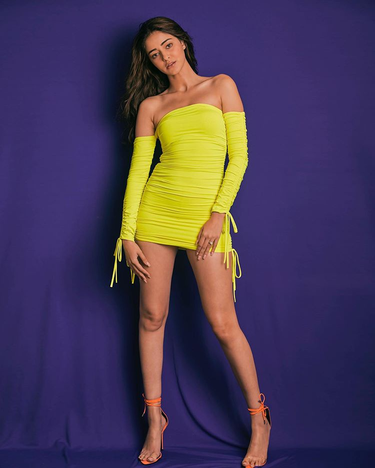 Bollywood Star Actress Ananya Yellow Color Dress Photoshoot.