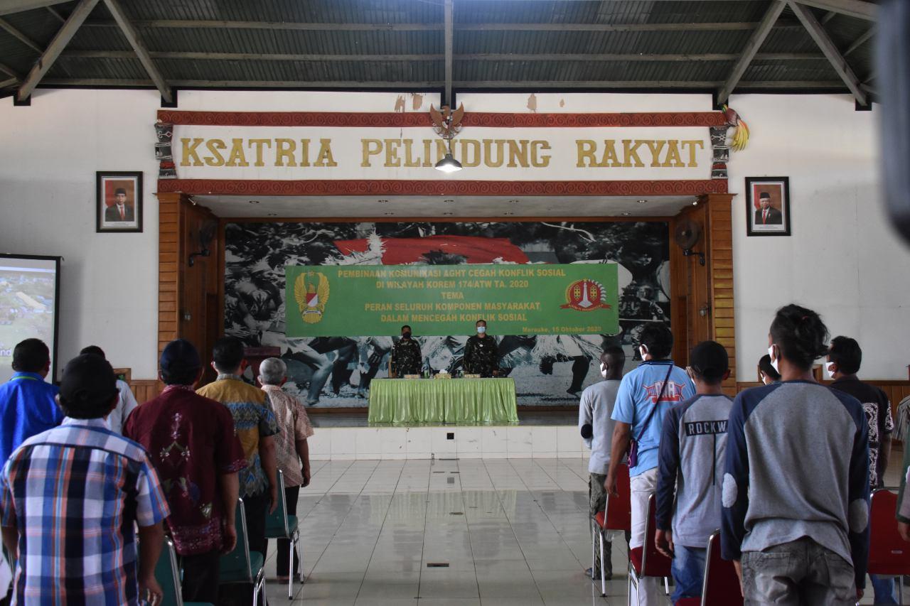 Cegah Konflik Sosial, Korem 174 Merauke Gelar Pembinaan Komunikasi Dengan Komponen Masyarakat