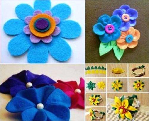 Kerajinan motif bunga dari kain flanel