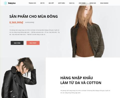 Template blogspot landing page bán hàng thời trang
