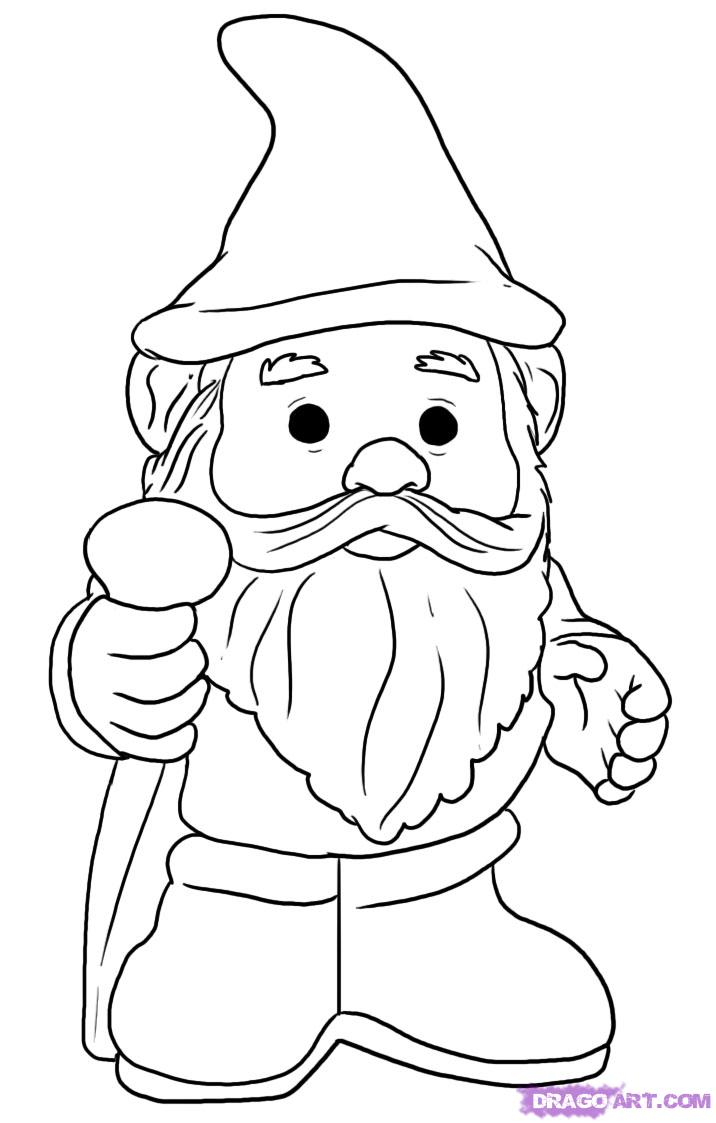 Female gnome coloring pages coloring pages for Garden gnome coloring pages