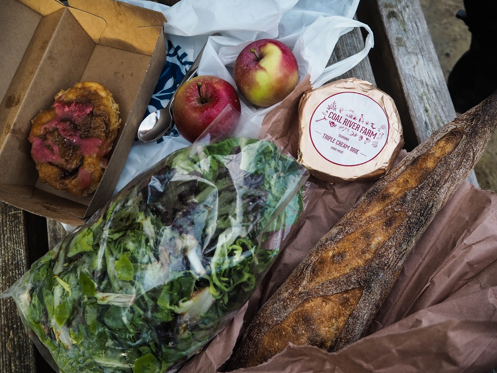 Rhubarb danish, red apples, salad leaves, brie and a french loaf