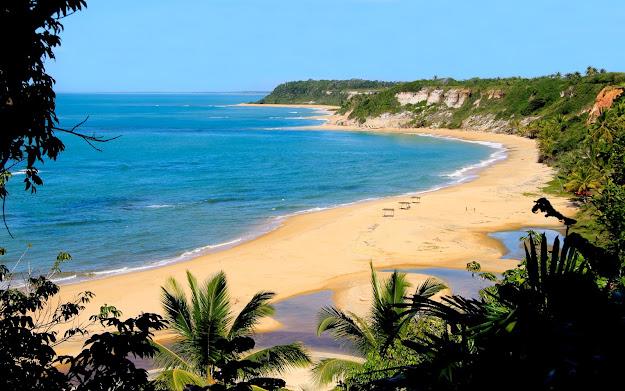 Uma das belas praias de Trancoso, Porto Seguro, Bahia.