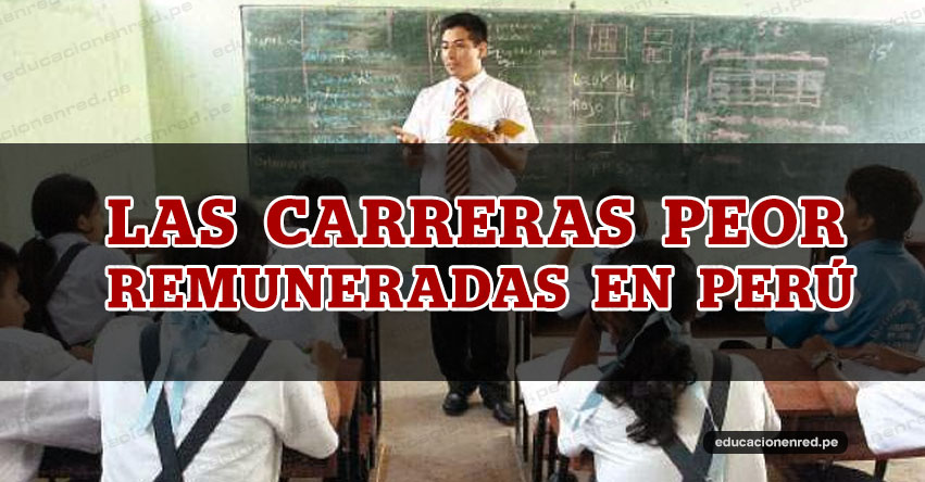 Ranking 10 carreras peor remuneradas en el Perú. 6 son de educación