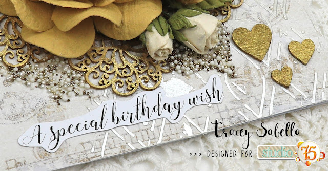 Mixed Media Birthday Day Card by Tracey Sabella for Studio75: #traceysabella #studio75 #scrapiniec #littlebirdiecrafts #littlebirdiecraftsflowers #prills #finnabair #agateria #cadence #helmar #artanthology #mixedmedia #shabbychic #mixedmediaart #mixedmediacard #mixedmediacards #shabbychiccard #shabbychiccards #diycard #diycards #handcraftedcard #handcraftedcards #diycrafts #handmadecard #handmadecards #birthday #birdthdaycard #birthdaycards #diybirthdaycard
