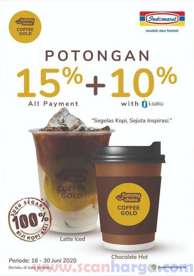 Promo Yummy Chioce Coffe Gold Indomaret Diskon Special i-saku dan 15% Pembayaran Lainnya