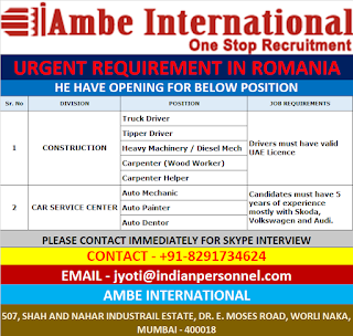 Urgent Requirement in Romania