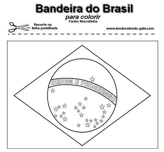 Desenho Ou Molde Da Bandeira Do Brasil Para Pintar Ou Preparar