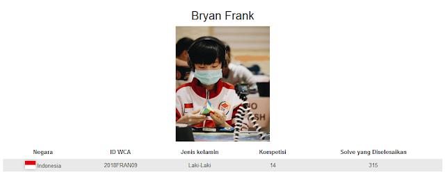 Profile akun WCA dari Bryan Frank yang berada pada peringkat kedua nasional dalam menyelesaikan rubik Pyraminx