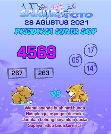 Syair SGP Sabtu 28 Agustus 2021