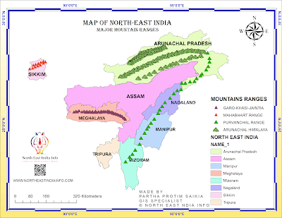 Northeast India Mountains and Hills Map