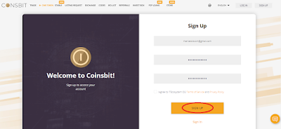 Signup Coinsbit