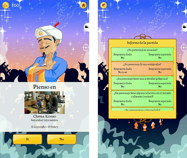 Akinator guessed Chema Alonso correctly.