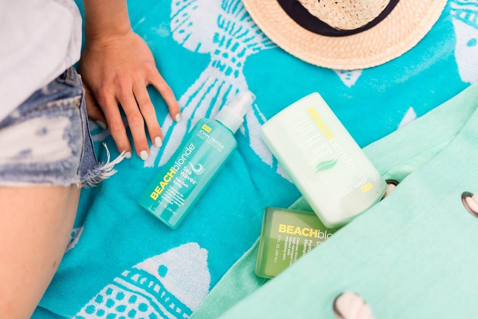 john frieda beach blonde sea waves, salt spray product, beach hair beauty product, best beach hair