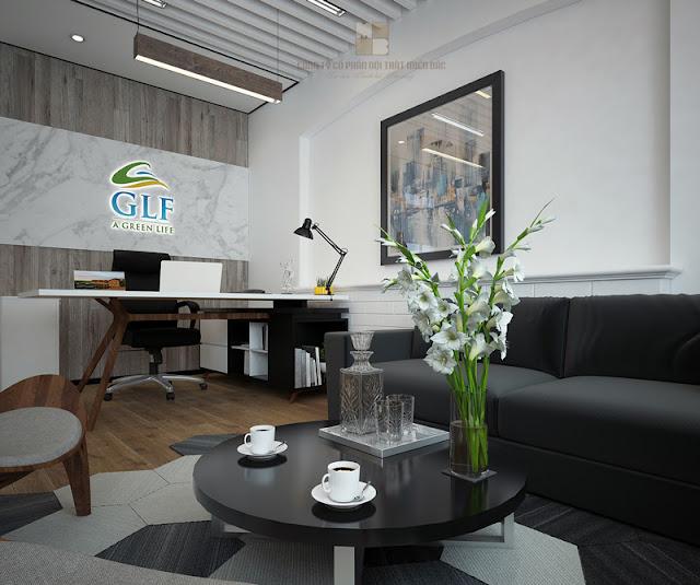 Thiết kế phòng giám đốc với ý tưởng phối màu hài hòa cho không gian tổng thể, giúp người dùng cảm thấy thoải mái và dễ chịu hơn