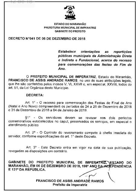 E agora o que vale mais, o decreto do prefeito ou o oficio da primeira dama???