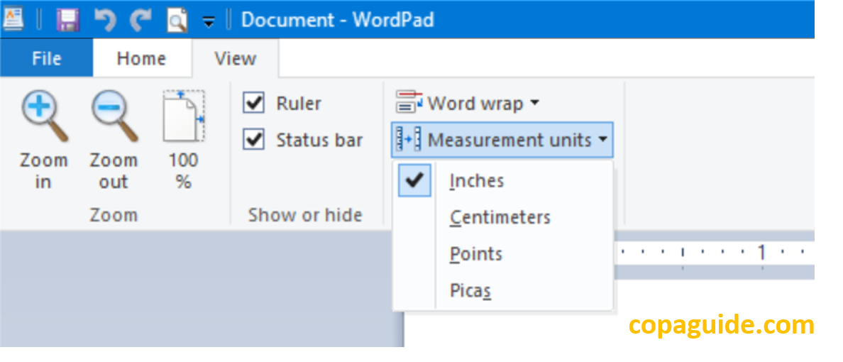 View Options in WordPad