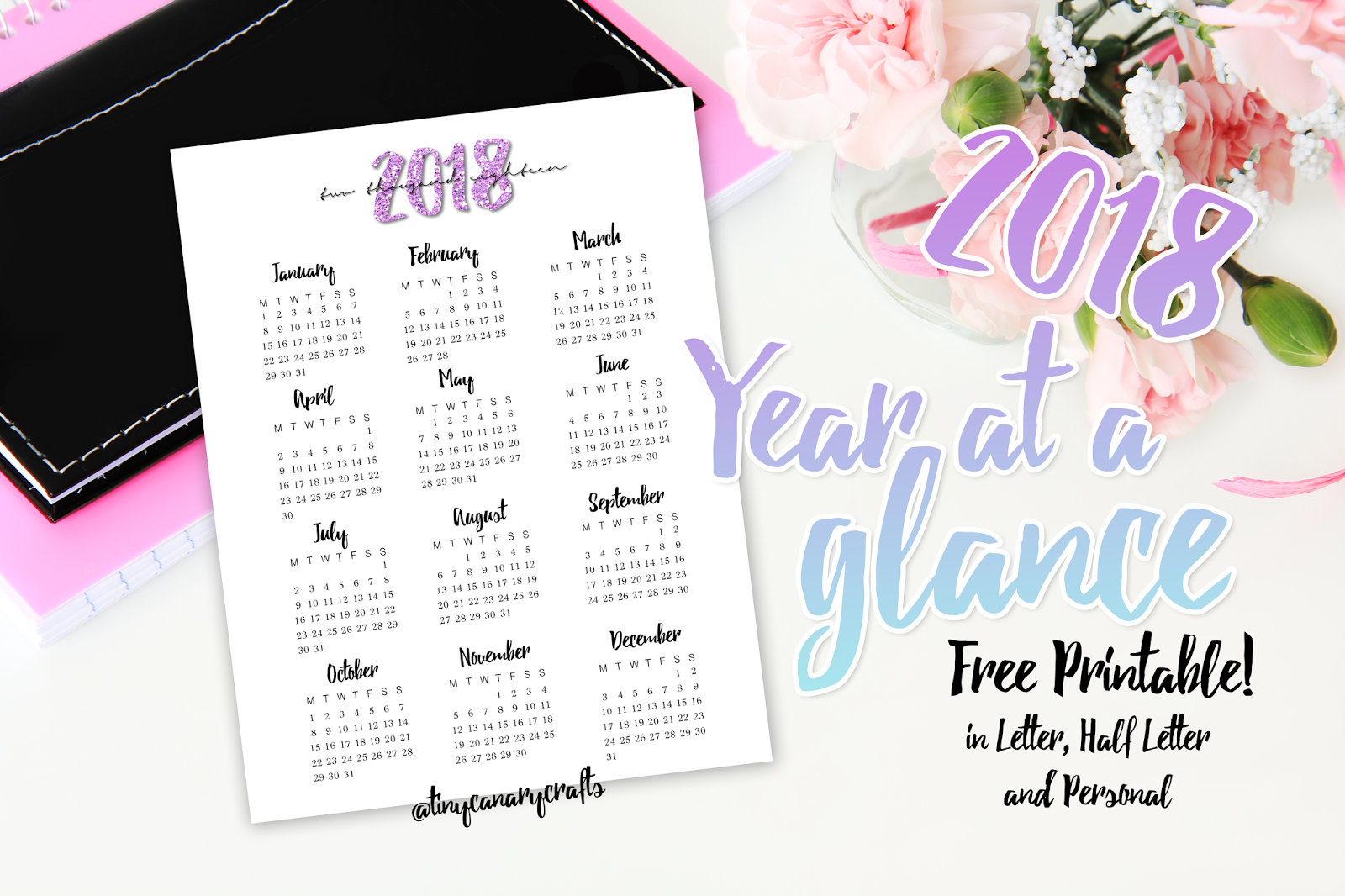 free printable 2018 year at a glance letter half letter a5