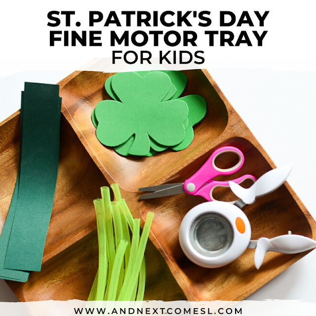 Scissors skills activity tray for St. Patrick's Day