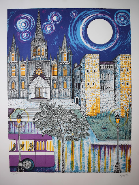 Manuel Carmona litografía Barcelona Catedral por la noche