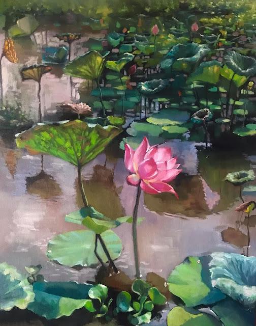 tranh sơn dầu vẽ đầm sen