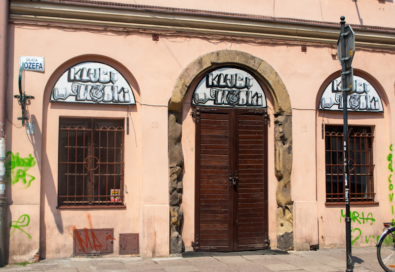 Graffiti in the jewish quarter and shop designs in Kraków, Poland