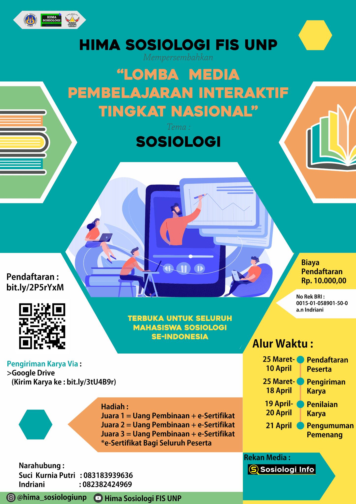 Dear Mahasiswa Sosiologi Indonesia, Info Lomba Media Pembelajaran Interaktif Tingkat Nasional, Hadiah Jutaan Rupiah, Deadline April !