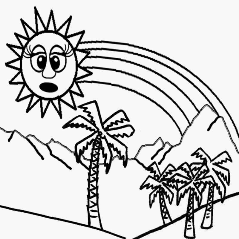 Palm tree hot tropical sun rainbow color book pictures summer coloring pages to print for children